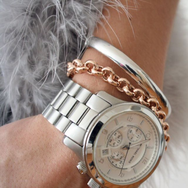 Michael Kors Oversized Runway Watch Silver