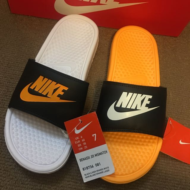 降價!全新Nike運動拖鞋Size:7 特殊色黃、黑、白