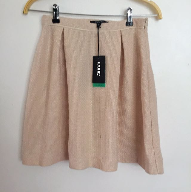 NUDE TWEED SKIRT