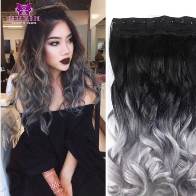 Ombre Grey Hair Extensions Health Beauty Hair Care On Carousell