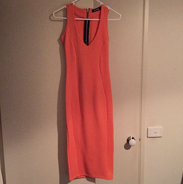 Orange Bodycon Midi Dress