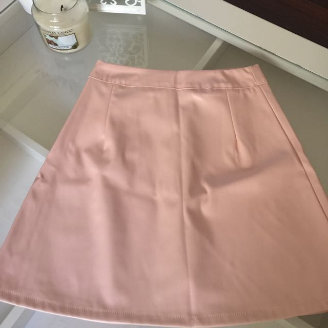 Pink Pleather Skirt