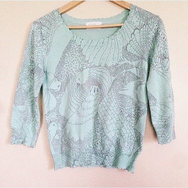 Printed and Scalloped Knit Pullie