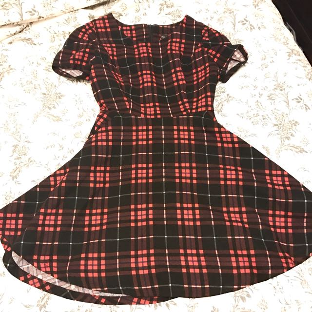 Red And Black Small Plaid Dress
