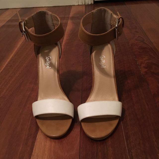 Sportsgirl Tan/white Heels
