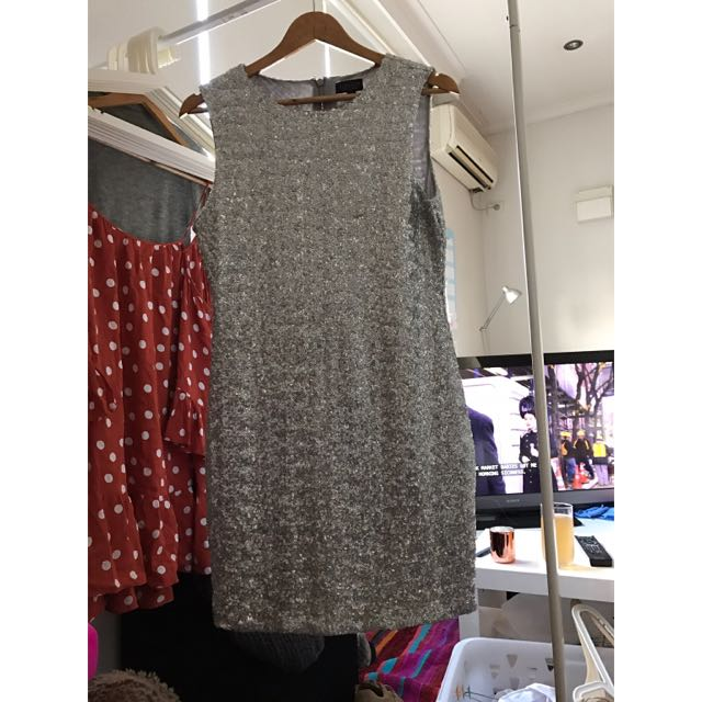 TOPSHOP WOMEN AUS SIZE 12 Silver Dress