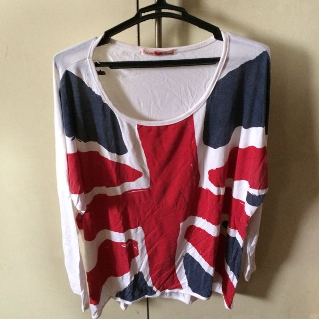 UK Flag Print Longsleeves Tops