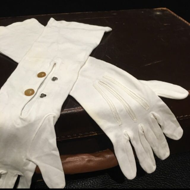 Vintage Long White Gloves
