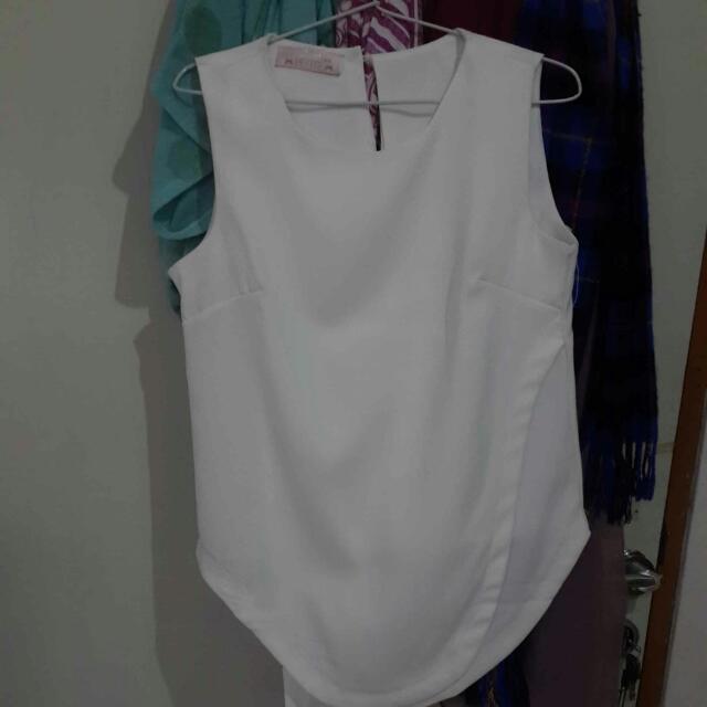 White Sleeveless Shirt