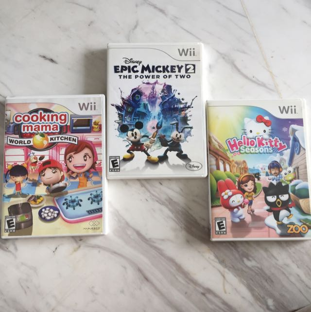 wii games cooking mama world kitchen sold hello kitty seasons