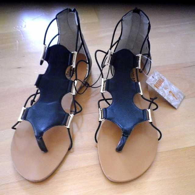 6833d86be Women s Black Gold Detail Mooloola City Beach Sandals Flat Strappy ...