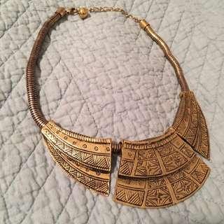 Antique Brass Gold Statement Necklace