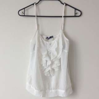 Chic White Top With Ruffles