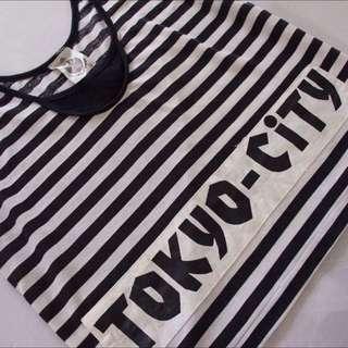 Vintage Black And White Stripe Singlet