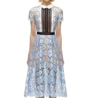 Self-Portrait Flower Garden Guipure-Lace Dress