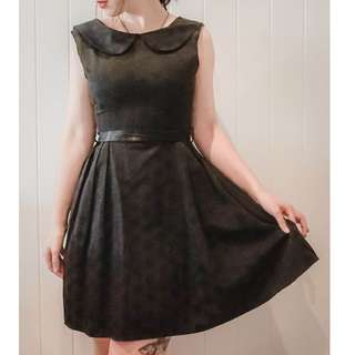 Revival black dress sz 8 polka dot