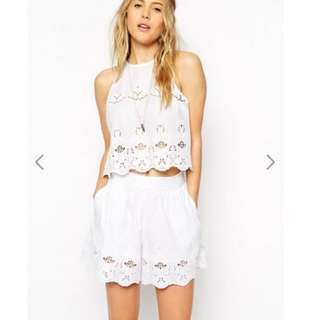 ASOS White Broderie Shell Top