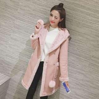 韓版夢幻毛球抽繩刷毛中長款加厚大衣 (168)