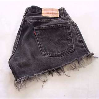 Vintage High Waist Levi Black Denim Shorts
