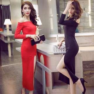 PO Off Shoulder Long Sleeve Plain Elegant Slit Maxi Dress