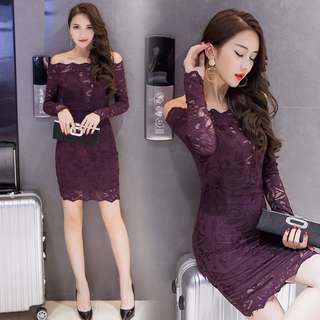 PO Off Shoulder Purple Long Sleeve Elegant Tight Fitting Lace Sexy Dress