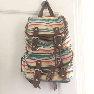 Colourful Striped Backpack