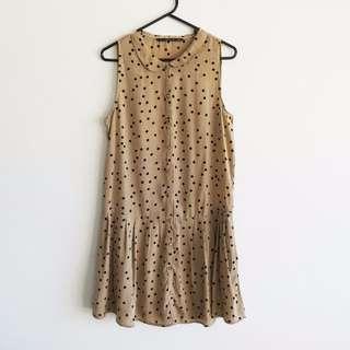 Zara - Size M - Polka Dot Coffee/Nude/Beige Dress with POCKETS Drop Wait and Peter Pan Collar