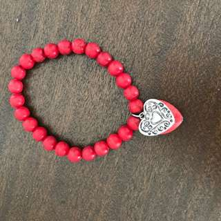 Red Beaded Stretchy Bracelet