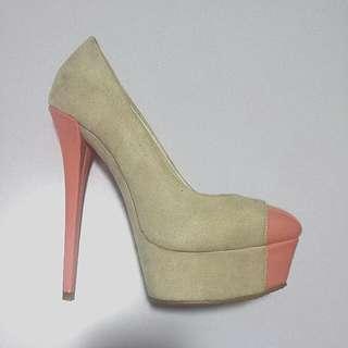 Marco Gianni Nude Suede High Platform Heels - Size 36