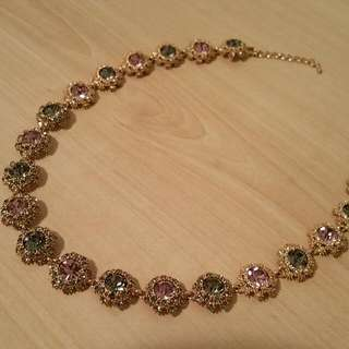 Gorgeous Pink And Emarald Gem Necklace
