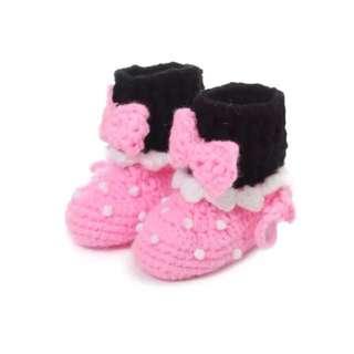 Pink Crochet Boots