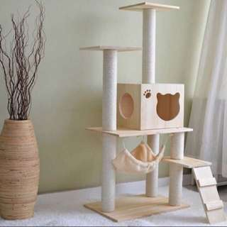 (NEW!)$110 Solid Pine Wood Cat Condo Tree House Scratch Pole
