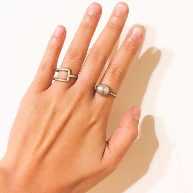 仿舊銀色戒指(四個一組)