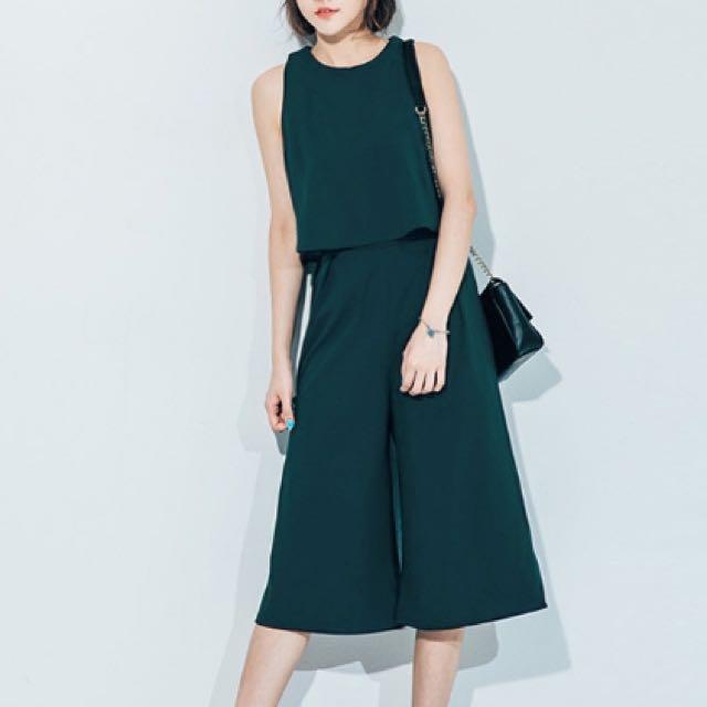 短板背心+高腰寬褲兩件式套裝(全新/綠色)