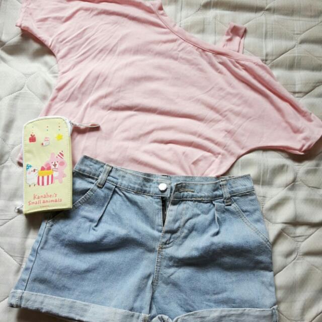 (夏季出清)粉色短版斜肩上衣