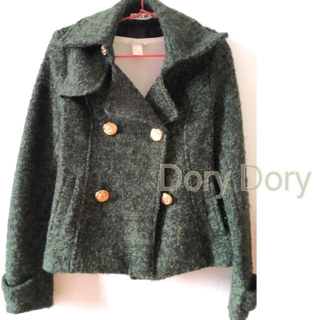 全新雪花墨綠圈圈毛短大衣