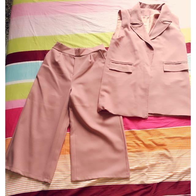 超美粉紅套裝