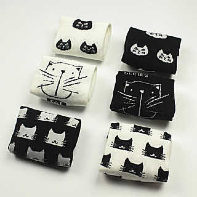 日系貓頭棉質短襪/五入組禮盒