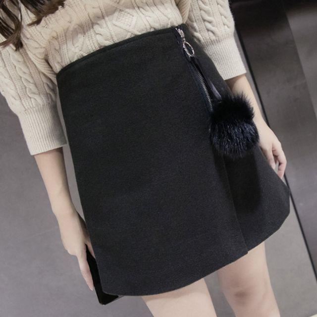 韓版氣質毛球高腰不規則短裙 (169)