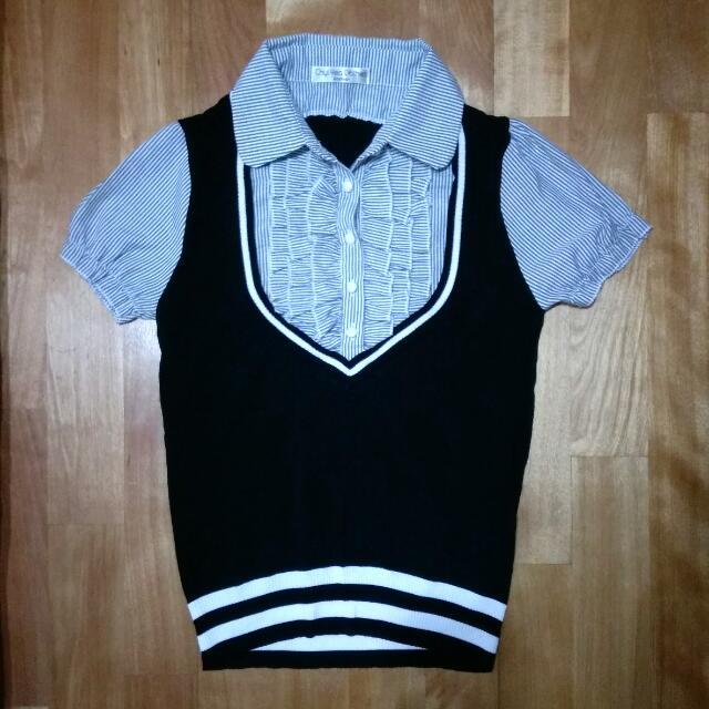 全新 上班族 面試 黑色 直條 針織 領 襯衫 排釦 公主袖 OL 上衣 #一百元上衣