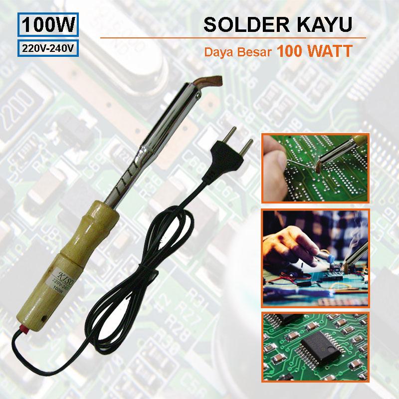 Best Seller EELIC Solder Listrik Pegangan Kayu / Alat Patri 100 watt S