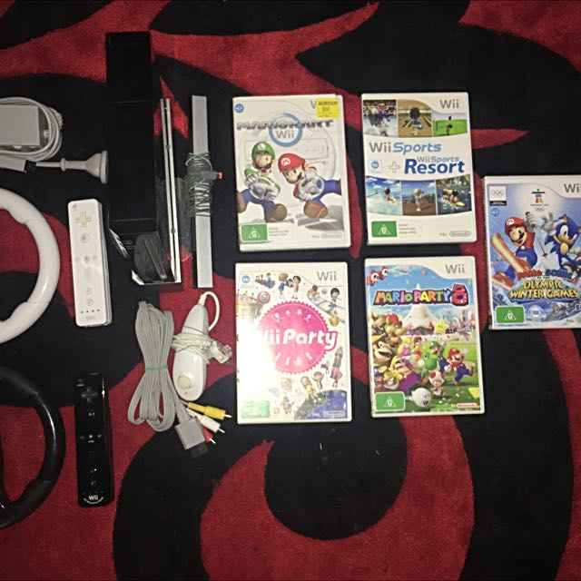 Black Wii Console With Games, Controllers & Accessories