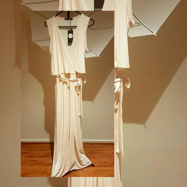 BOOHOO wrap over maxi dress