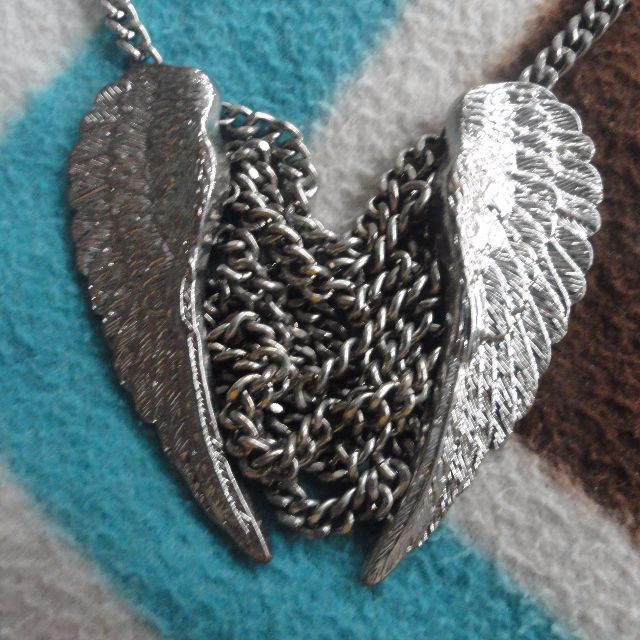 Forever 21 Angel Wings Long Necklace