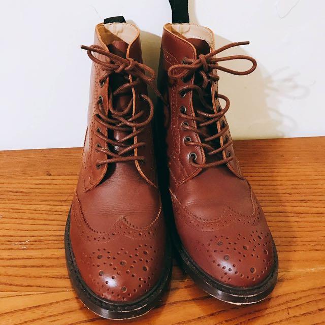 專櫃FUGU 真皮牛津靴 短靴