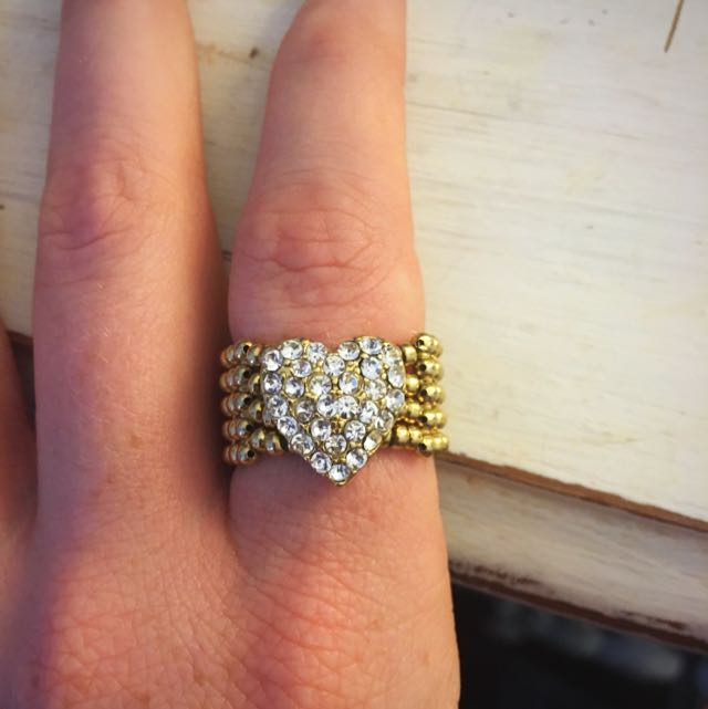 Gold Heart ring With Cubic Zirconia