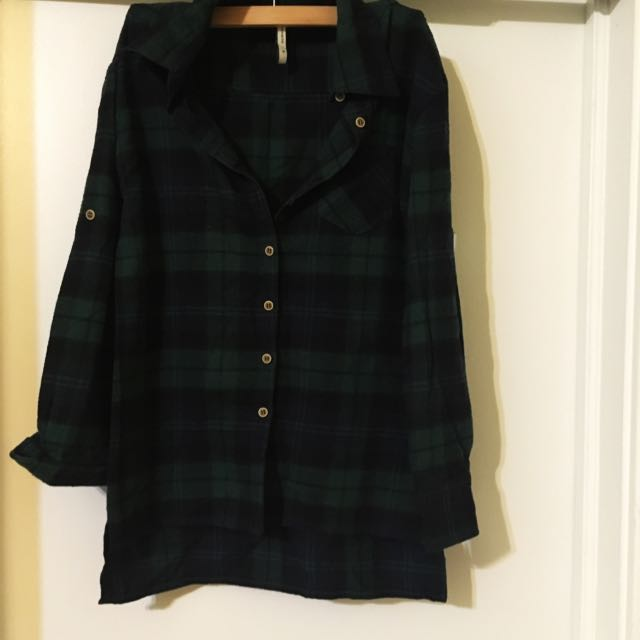Green & Navy Plaid Shirt