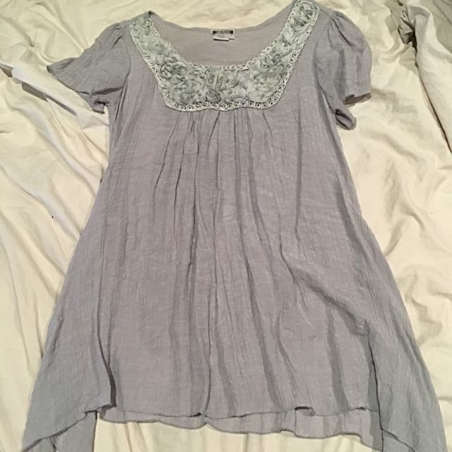 Grey Beautifully Detailed Rose Shirt Or Dress
