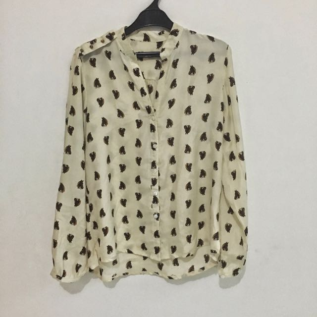 Horse Printed Blouse With Studs On Shoulder