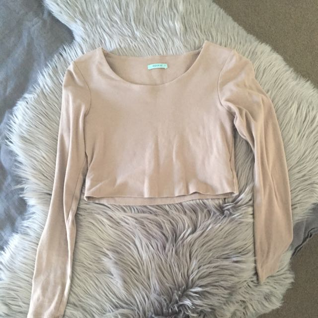 Kookai Size 2, Mocha Long Sleeve Crop